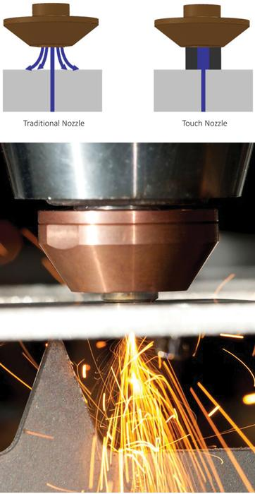 Nozzle technology saves laser cutting assist gas