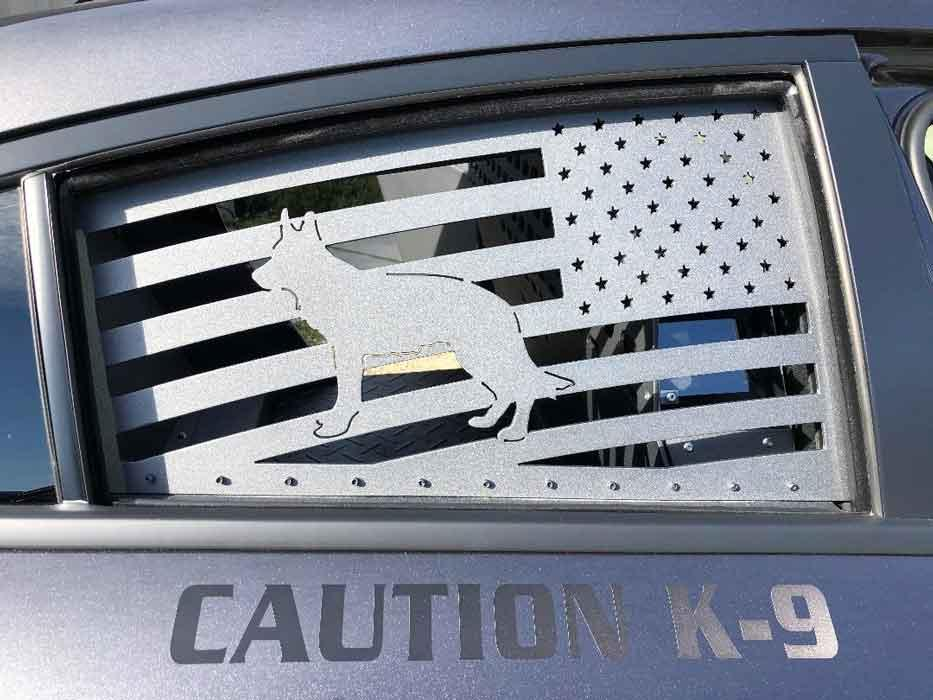 Fabricated metal panel for cop car