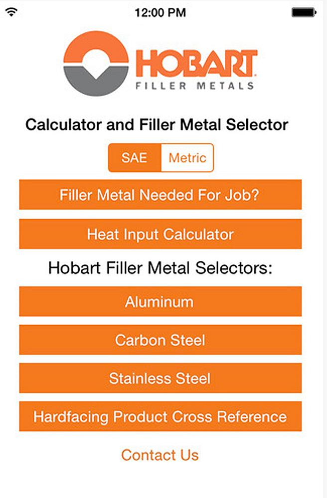 Filler metal selector/calculator app available for iPhone, iPad