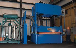 Hydraulic presses perform compression molding
