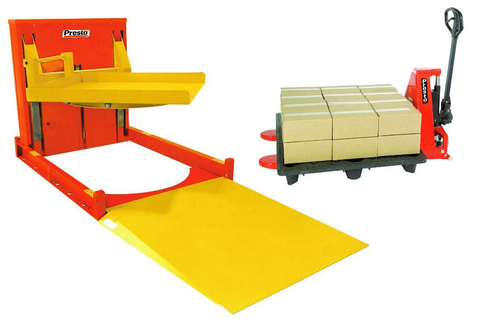 Presto P4 pallet leveler with turntable lowers to floor height