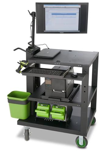 Newcastle's Heavy Duty PC Series cart uses two industrial lithium batteries to power a computer, printer, and scanner.