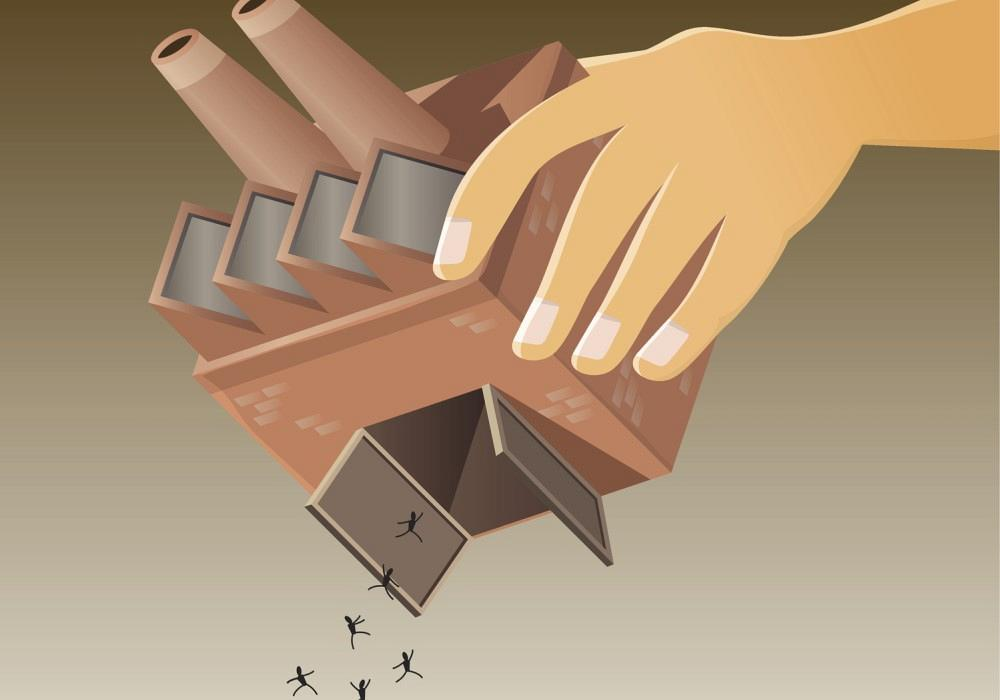 Illustration of manufacturing company cutting jobs