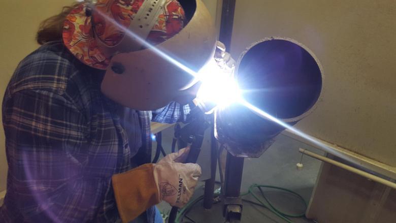pipe welding student tig welding