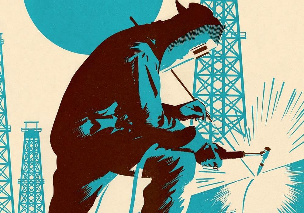 Illustration of a pipeline welder