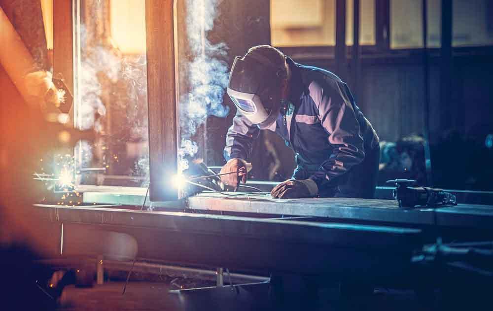 Welder in a fabrication shop