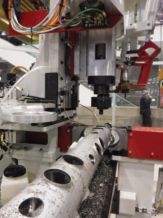 Using a single machine to drill, thread, polish for making tube and