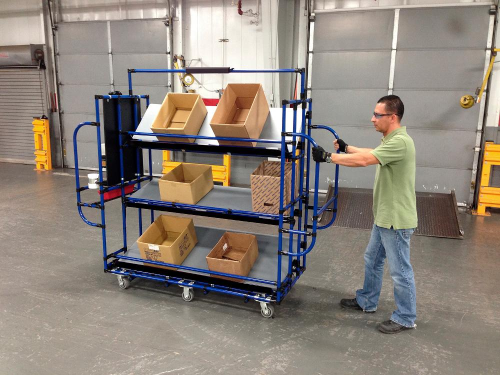 Warehouse picking cart maneuvers in narrow aisles